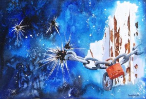 lock, red lock, watercolor lock, watercolor lock painting, lock painting, abstract loc