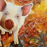 pig, pig painting, spider web, spider, pig and spider, watercolor painting, watercolour