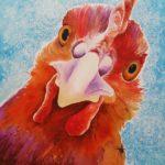 chicken, chicken painting, watercolor chicken, watercolour chicken, chicken face