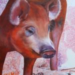 pig, pig painting, pig named Joyce, Happy Hooves, Happy Hooves Farm Sanctuary, rescue pigs