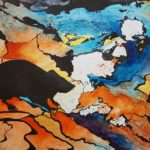 rat, watercolor rat, rat painting, gold, abstract rat, orange and blue abstract