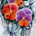 three pansies, three ladybirds, pansies, ladybirds, garden, flowers, watercolour flowers, watercolour insects, watercolor ladybirds